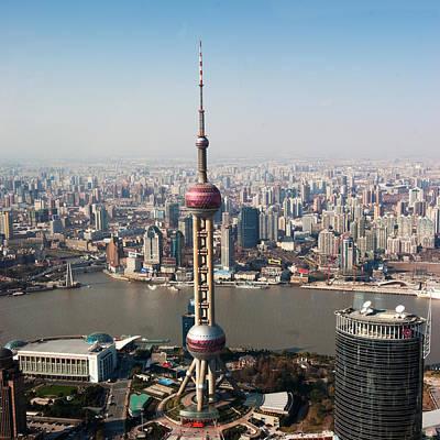 Overhead View Of Oriental Pearl Tower In Shanghai Print by Roy Hsu