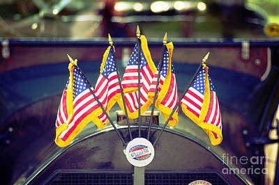 Overland Vintage Car With Flags Art Print by Floyd Menezes