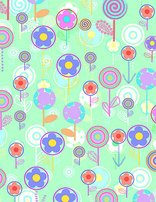 Repeat Digital Art - Overlayer Flowers  by Louisa Knight