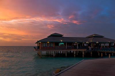 Overwater Restaurant. Maldives Print by Jenny Rainbow