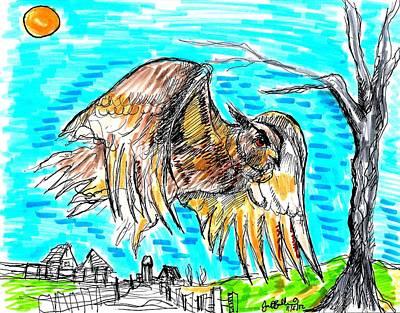 Owl Flying Rural  Art Print by Jon Baldwin  Art