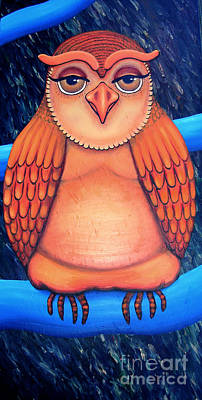 Painting - Owl In Oil by Barbara Stirrup