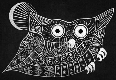 Black And White Owl Painting - Owl by Shruti Aggarwal