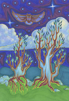 Wiccan Drawing - Owl Sky by James Davidson