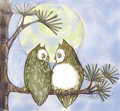 Night Owl Mixed Media - Owl Talk by Peggy Wilson