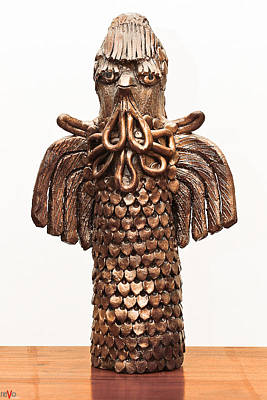 Sculpture - Owl Totem Bronze Gold Color Wings Beak Hair Penetrating Eyes  Scales Feathers   by Rachel Hershkovitz