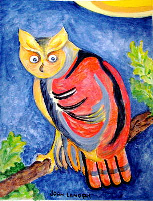 Owl With Attitude Art Print by Joan Landry