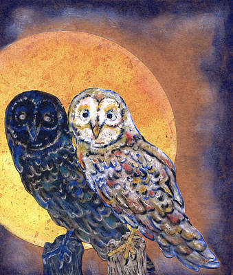 Talons Mixed Media - Owls At Sunrise by Suzan  Sommers