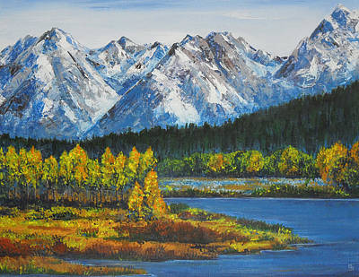Oxbow-grand Tetons  Art Print by Shirley Heyn