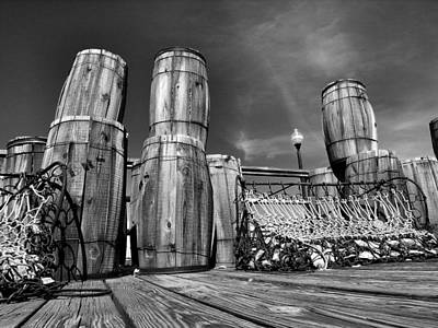 Oyster Barrels And Nets I Art Print by Steven Ainsworth