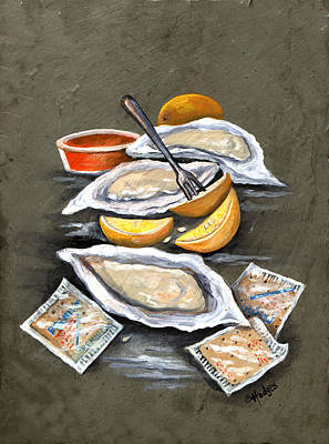Oysters And Crackers Art Print by Elaine Hodges