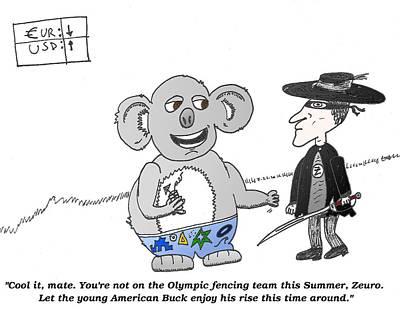 Koala Mixed Media - Oz Euro Trading Caricature by OptionsClick BlogArt