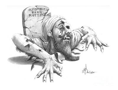 Zombie Drawing - Ozombie Been Rottin by Murphy Elliott