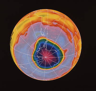 Ozone Hole Over Antarctica Print by Nasa