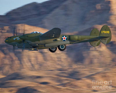 Air Show Photograph - P-38 Gear Up by Tim Mulina