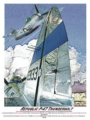 Aircraft Poster Digital Art - P-47 Thunderbolt by Kenneth De Tore