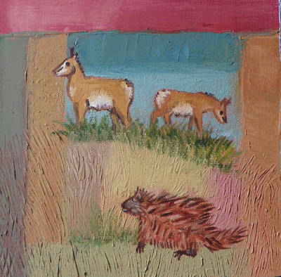 Painting - P Is For Pronghorn And Porcupine Detail From Childhood Quilt Painting by Dawn Senior-Trask