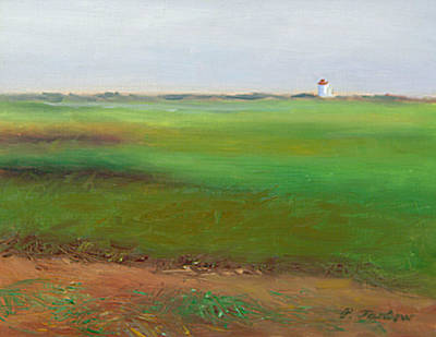 P Town Painting - P-town Moors With Lighthouse by Phyllis Tarlow
