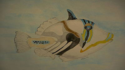Triggerfish Painting - Pablo by Tim Forrester