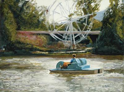 Ferris Wheel Drawing - Paddle Boat by John OBrien