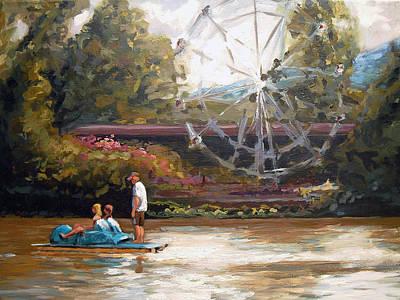 Ferris Wheel Drawing - Paddle Boat On Lake Como by John OBrien
