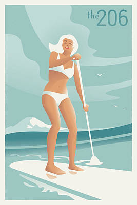 Bikini Digital Art - Paddleboarding Seattle by Mitch Frey