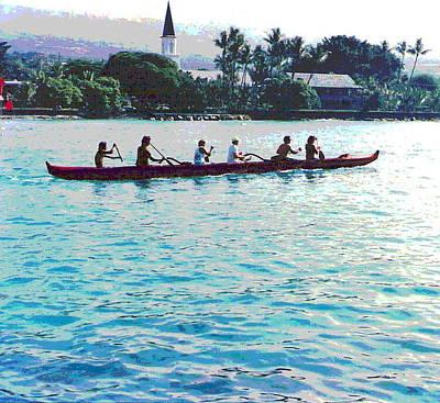 Paddling Past Kailua Kona Art Print