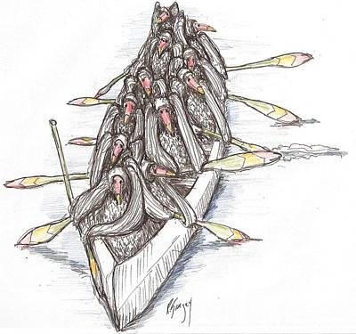 Buzzard Drawing - Paddling by R  Allen Swezey