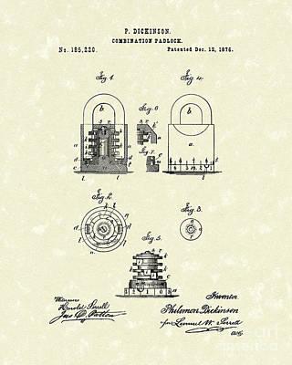 1876 Drawing - Padlock 1876 Patent Art by Prior Art Design