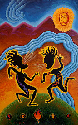 Tribal Art Painting - Paean To Gaia by Shawn Shea