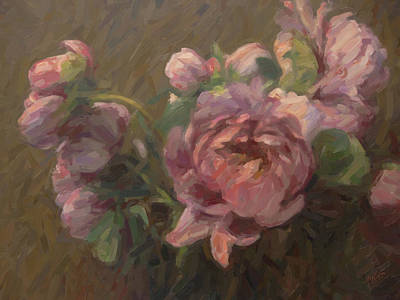 Briex Painting - Paeonia Roses by Nop Briex