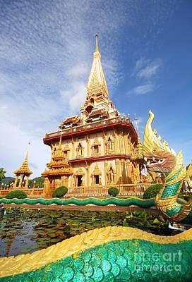 Pagoda In Wat Chalong Phuket  Print by Anusorn Phuengprasert nachol