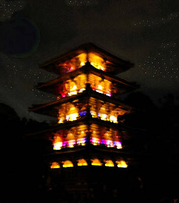 Religous Art Painting - Pagoda Night by David Lee Thompson