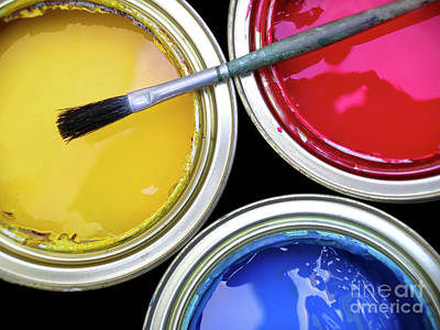 Vivid Color Photograph - Paint Cans by Carlos Caetano