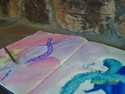 Dragon Mixed Media - Paint My World by Amanda Fawcett