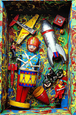 Marble Blocks Photograph - Painted Box Full Of Old Toys by Garry Gay