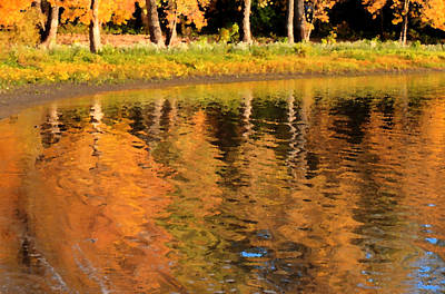 Digital Art - Painted Fall Reflections by Coby Cooper