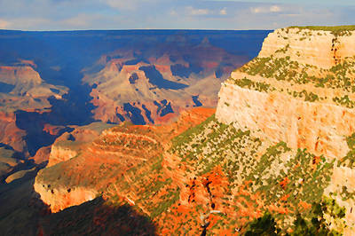 Digital Art - Painted Grand Canyon Before Sunset by Eva Kaufman