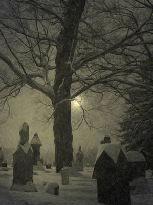 Graveyard Digital Art - Painted Graveyard by Emily Stauring