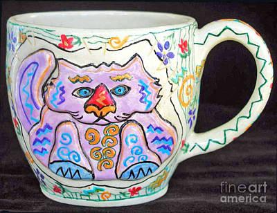 Painted Kitty Mug Art Print by Joyce Jackson