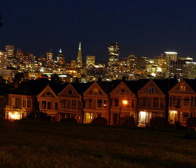 Photograph - Painted Ladies Night View by Jeff Lowe