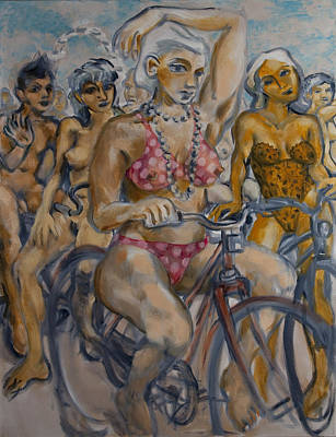 London Eye Painting - Painted Ladies On The Naked Bike Ride Take A Break In View Of The London Eye by Peregrine Roskilly