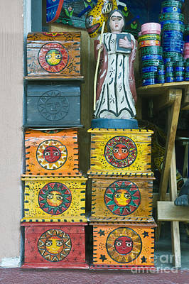 Handmade Carving Wood Photograph - Painted Souvenir Boxes by Rob Tilley