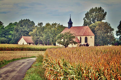 Painterly French Cornfield In Autumn Art Print
