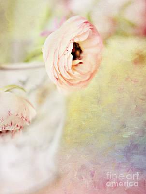 Indoor Still Life Digital Art - Painterly Pink Ranunculus In Vase by Susan Gary