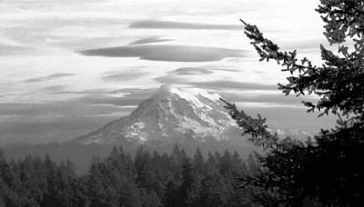 Photograph - Painterly Rainier In Black And White by Chris Anderson