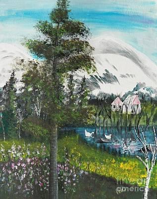 Painting   Early Spring Adirondack Original by Judy Via-Wolff