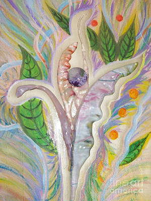Painting - Painting And Fused Glass Flora by Judy Via-Wolff