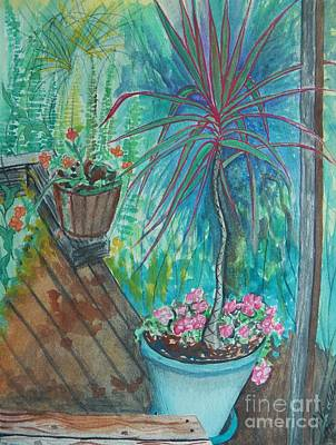 Painting - Painting Life Blooms On The Deck by Judy Via-Wolff