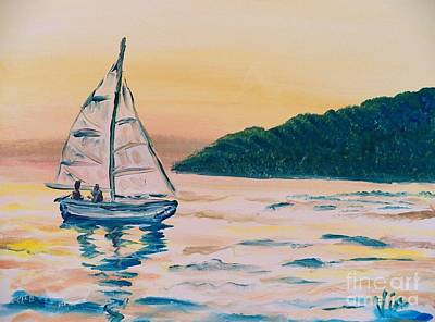 Painting - Painting  Morning Sail by Judy Via-Wolff